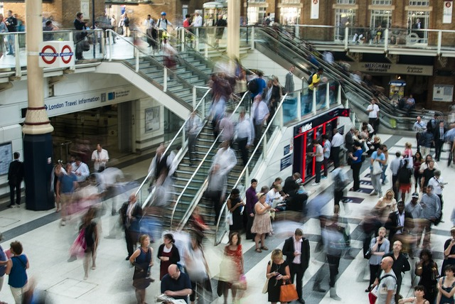 Photograph of busy London underground station