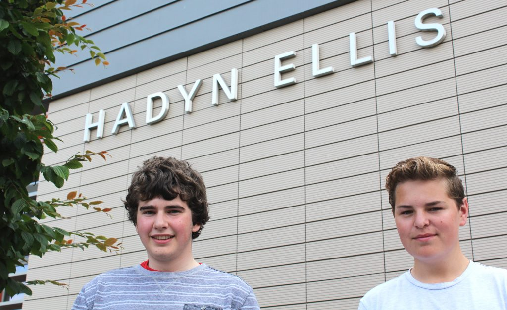 Photograph of Rhys and Daniel outside the Hadyn Ellis Building