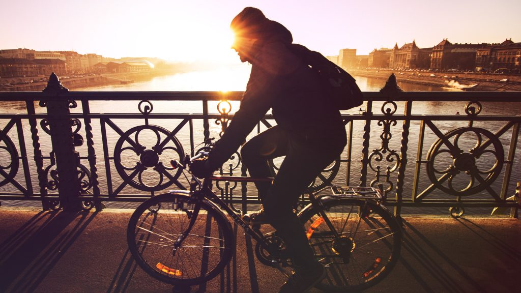 Man riding bike across a bridge