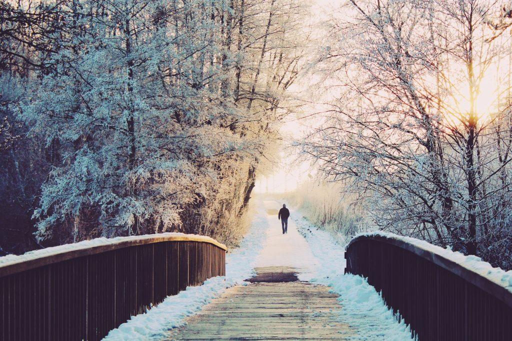 Man walks alone through wintery scene