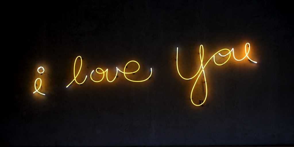 neon sign saying i love you