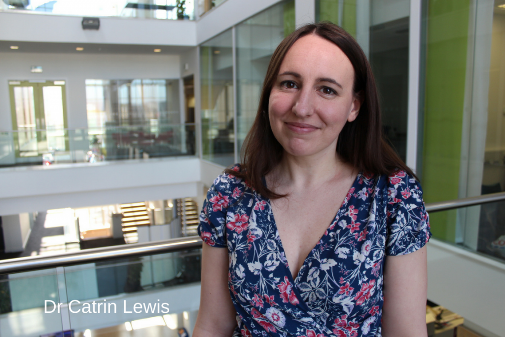 Dr Catrin Lewis photographed in Hadyn Ellis Building