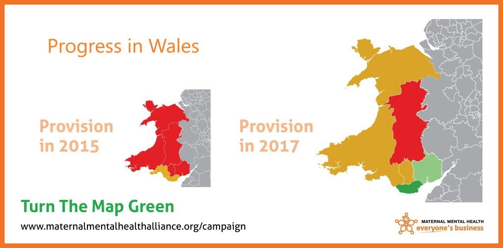 Graphic showing progress from 2015 map produced by the Maternal Mental Health Alliance