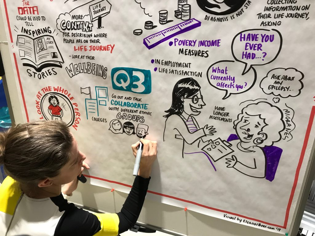 woman drawing live illustration of a discussion